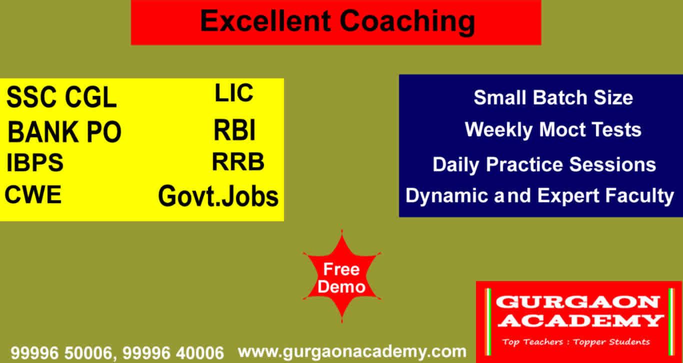 Top Coaching Centre Institute Gurgaon(99996 50006):BANK PO SSC Govt. Jobs Exams Preparation Delhi