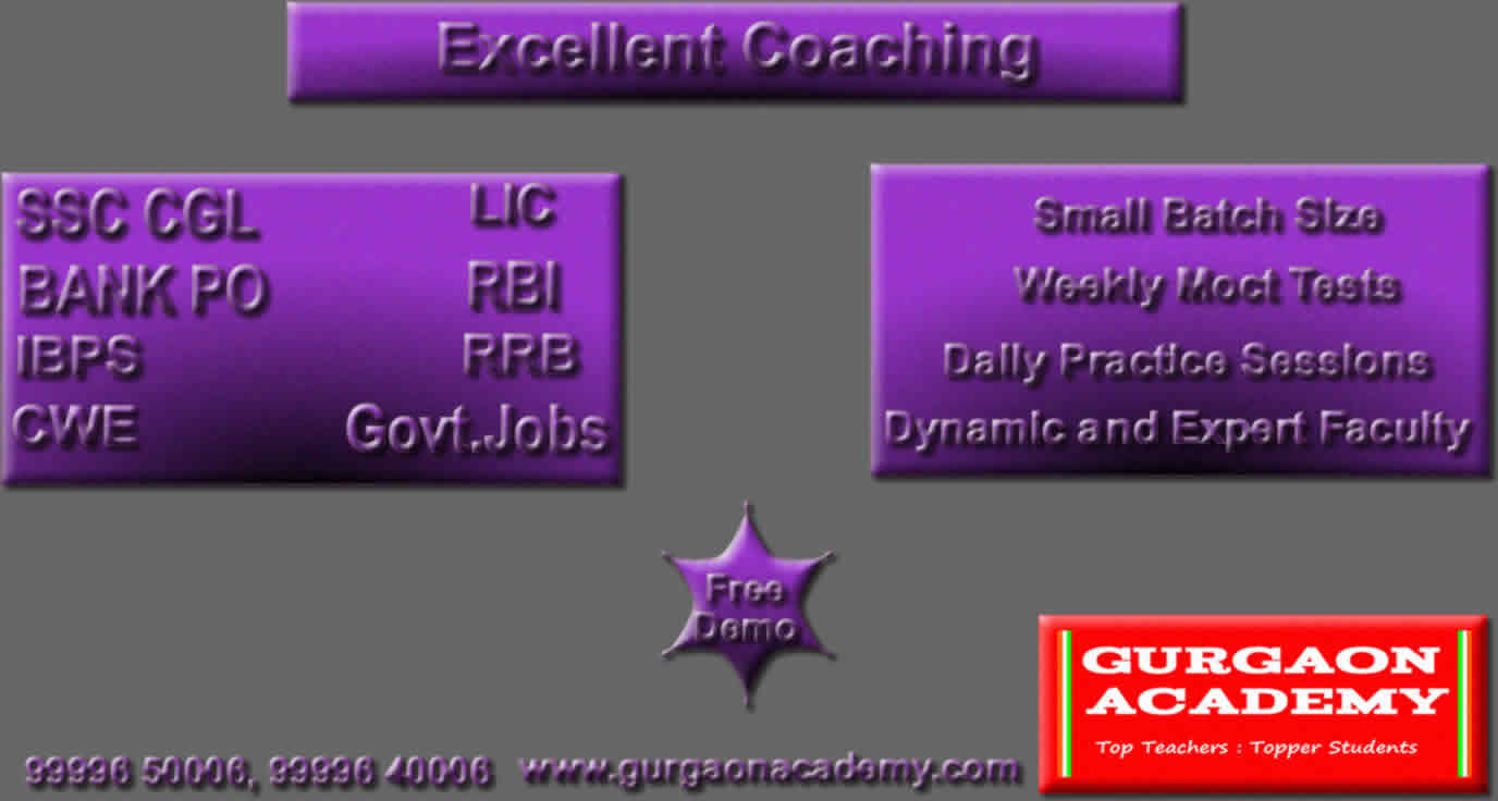 SSC BANK PO Govt. Jobs Exam Coaching(99996 50006):Gurgaon Academy Coaching centre Institute for banking examinations coaching classes Gurgaon Sector 40