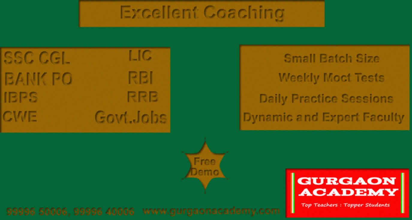 Top 10 Coaching Institute for SSC BANK PO(99996 50006):Gurgaon Academy Coaching Centre Institute Classes for Exam Preparation Courses Gurgaon Sector 41