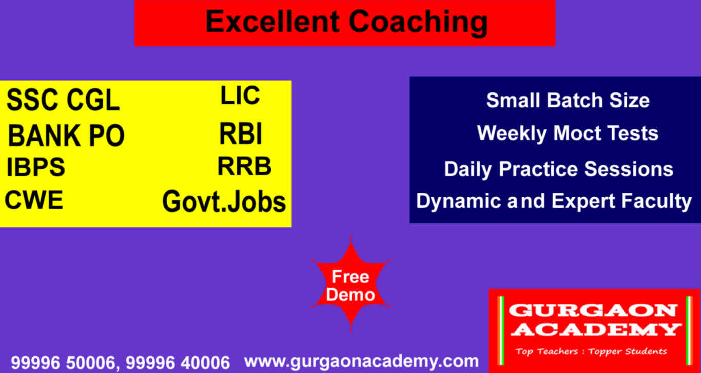 Bank PO Clerical SSC CGL Govt. Jobs Exams Coaching Institute in Gurgaon