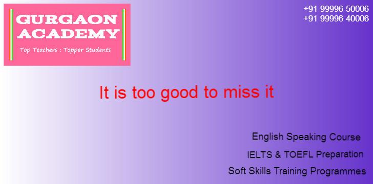 English Speaking Course Institute(99996 50006):Gurgaon Academy for English Language Soft Skills Training Programmes