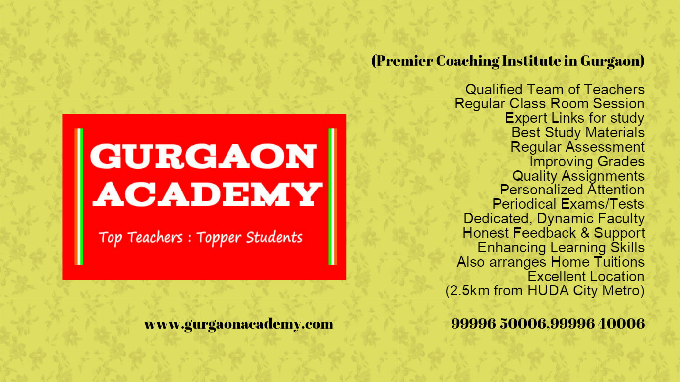 Gurgaon Academy Coaching Centre for IB IGCSE CBSE ICSE Subjects