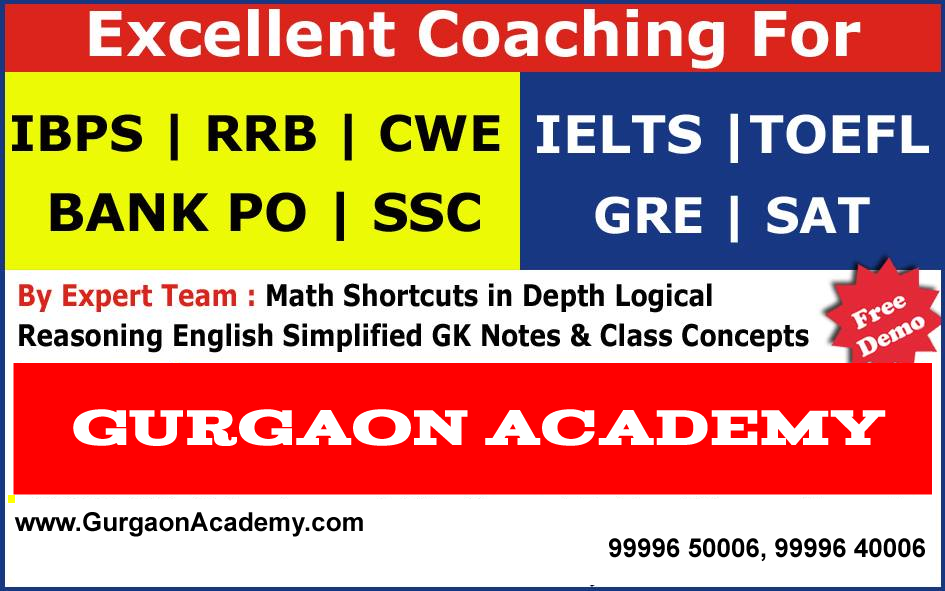 BANK SSC EXAM COACHING DELHI GURGAON INDIA