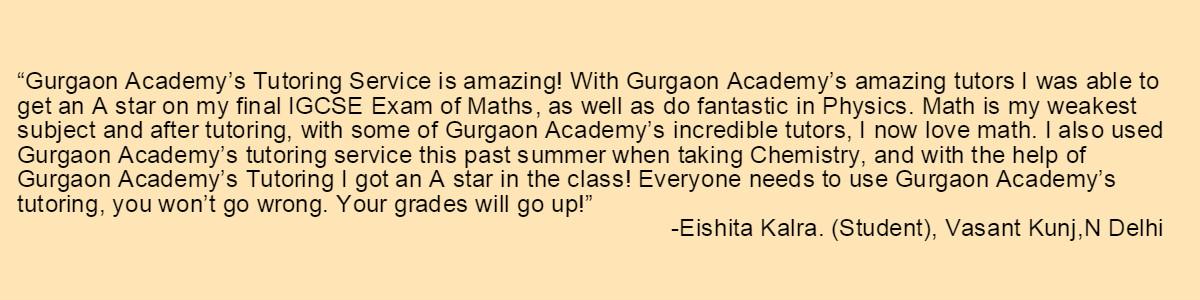 Testimonial-Gurgaon Academy Coaching Institute-Eishita Kalra Vasant Kunj